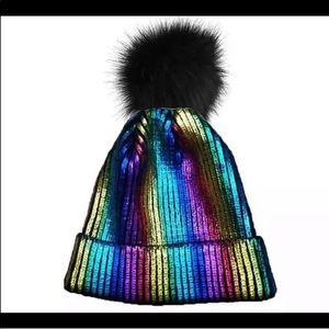 Accessories - Rainbow metallic beanie